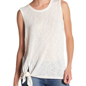 NWT Womens Bobeau Tie Front Muscle Tank Top White